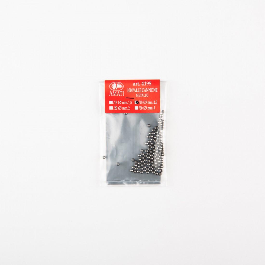 Bolas de cañon de metal mm.2,5