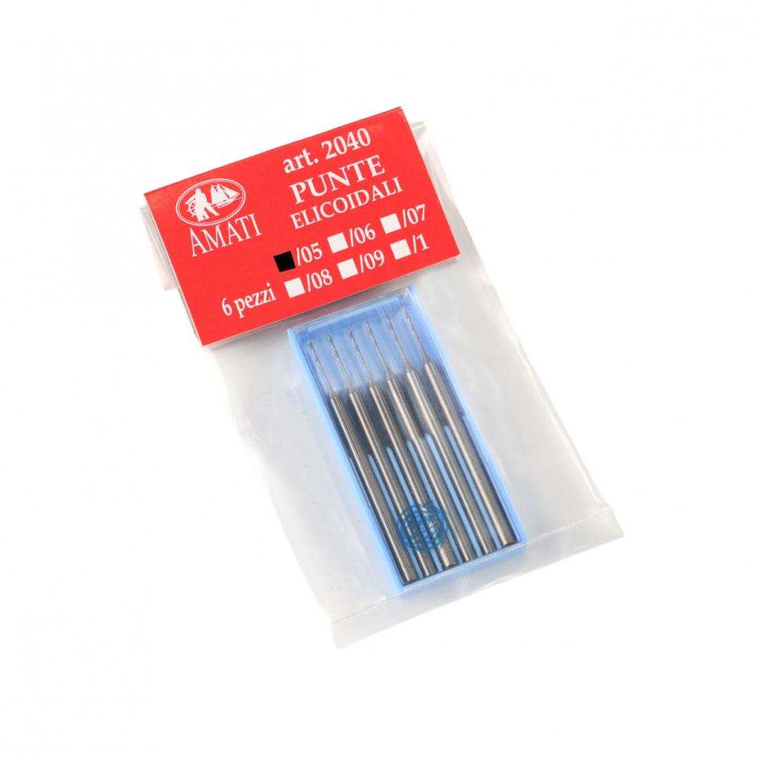 Punte elicoidali per fori da 0,5 gambo mm. 2,3
