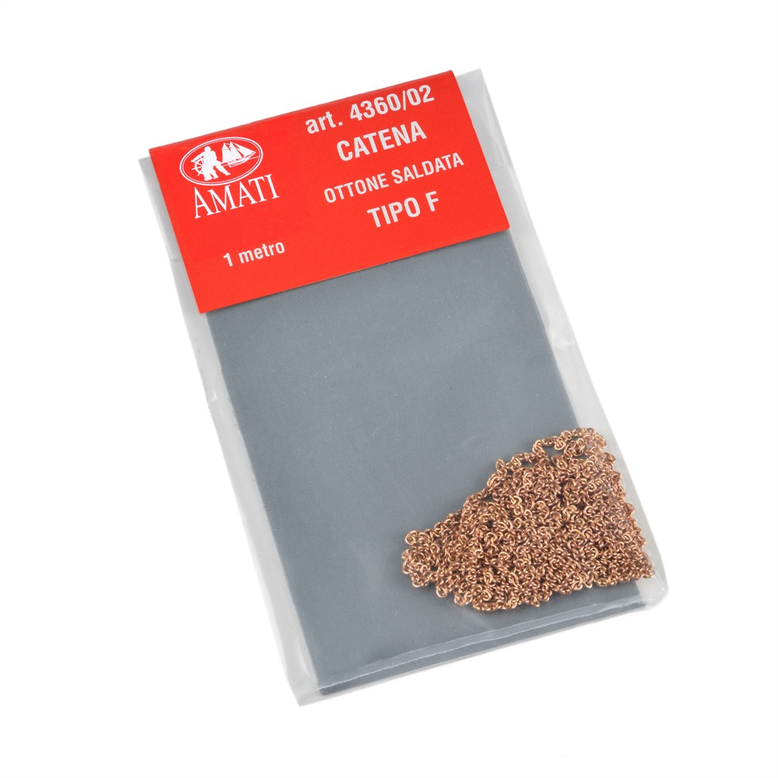 Catena tipo F in ottone mm.1 x 1 mt