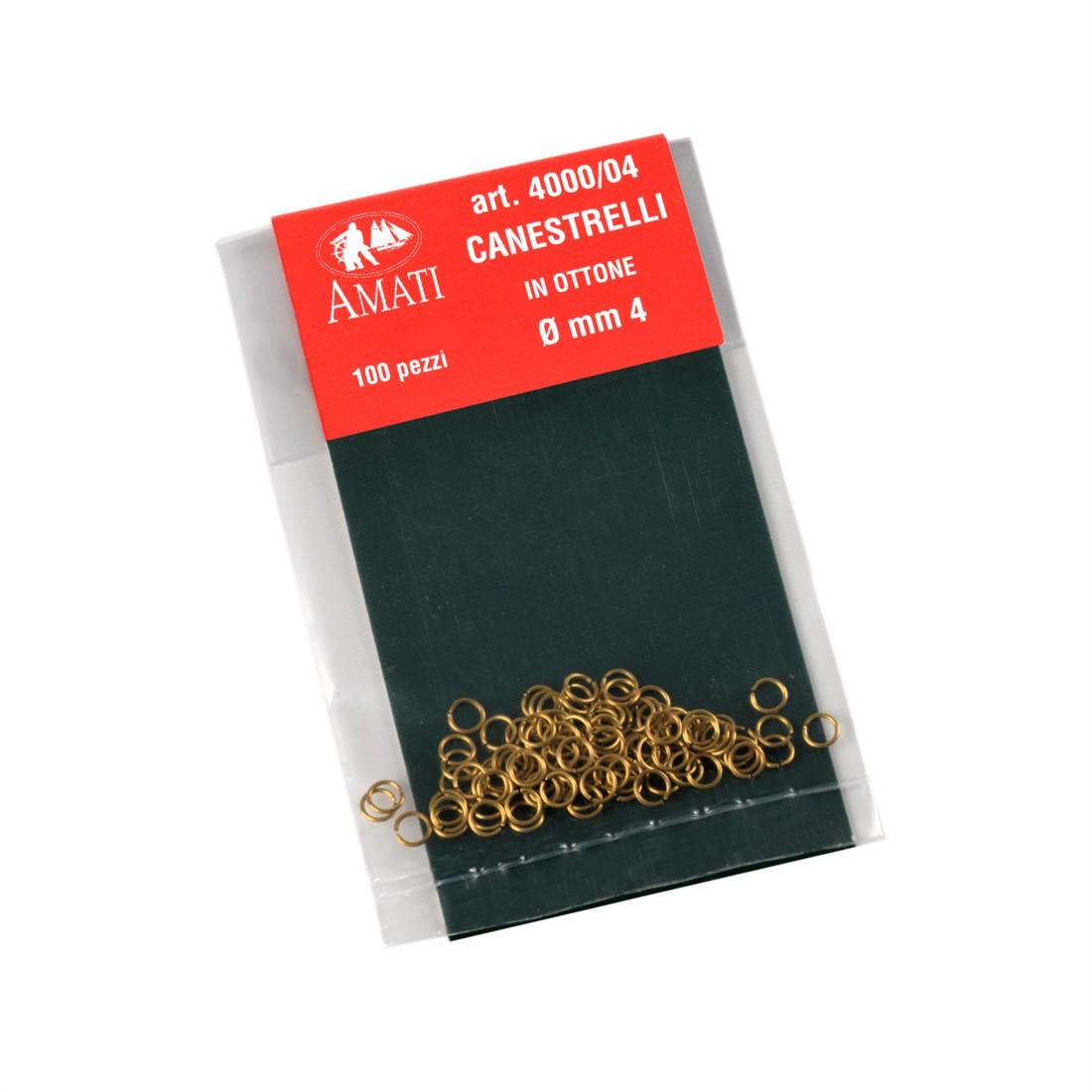 Brass split rings mm.4(100 pcs.)