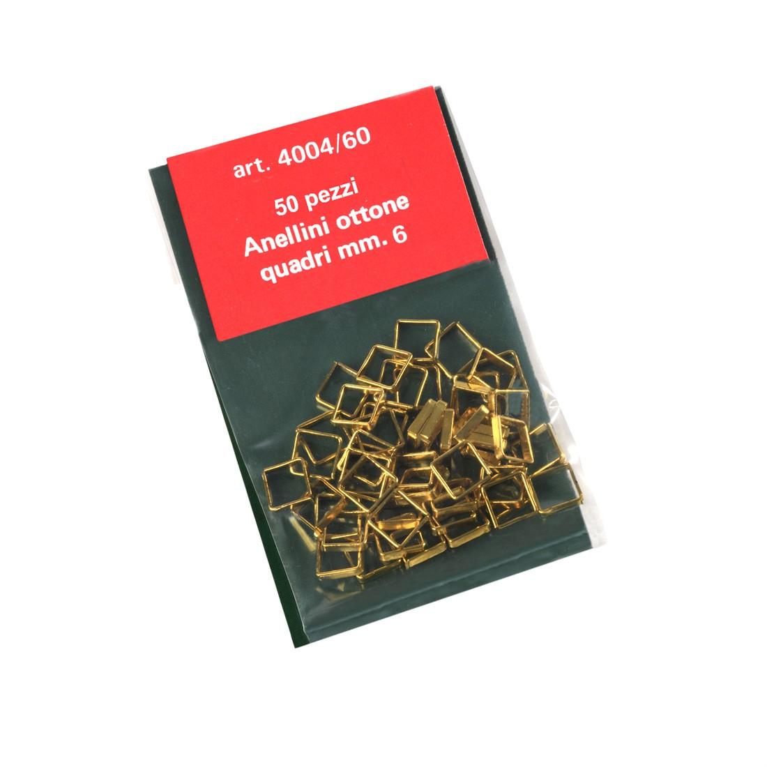 Anillos cuadrados de latón mm.6