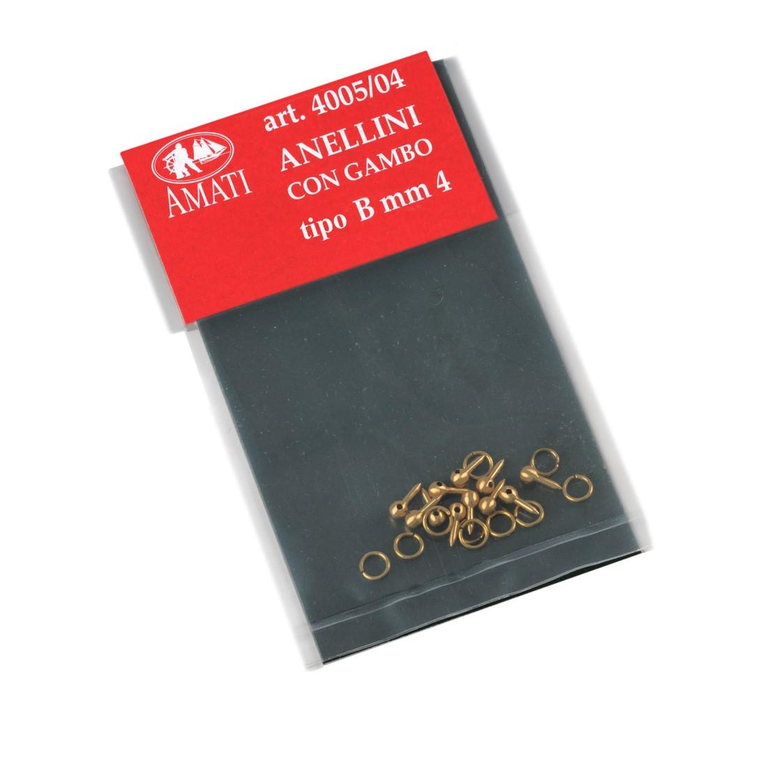 Anellini con gambo ottone tipo B Ø mm. 4