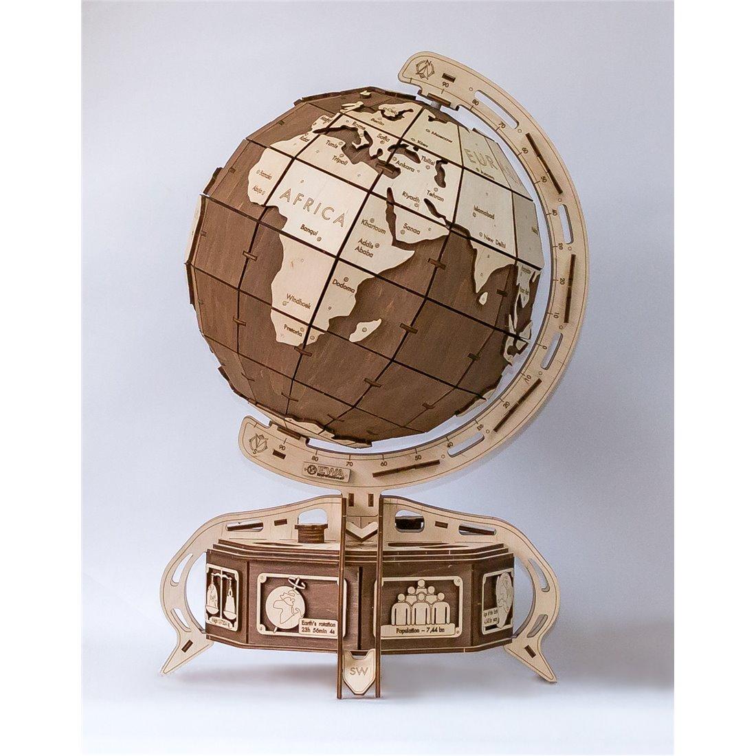 Mappamondo in legno pretagliato naturale