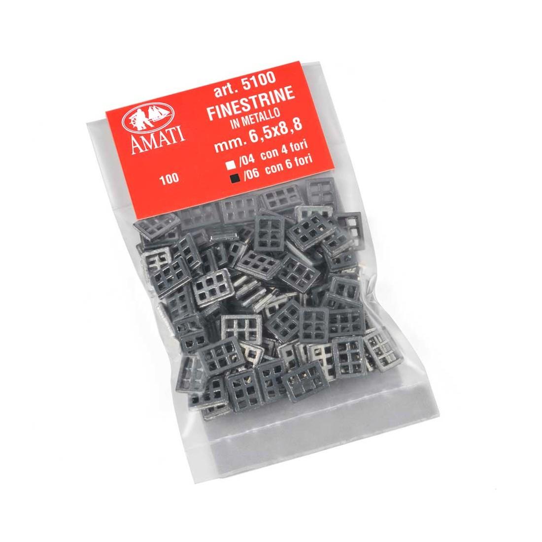 Finestre metallo 6 fori mm.6,5x8,8