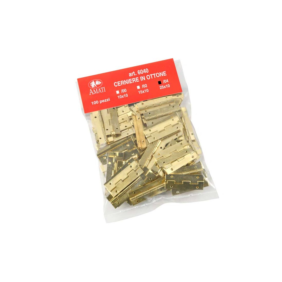Brass hinges no.4 mm. 25x10