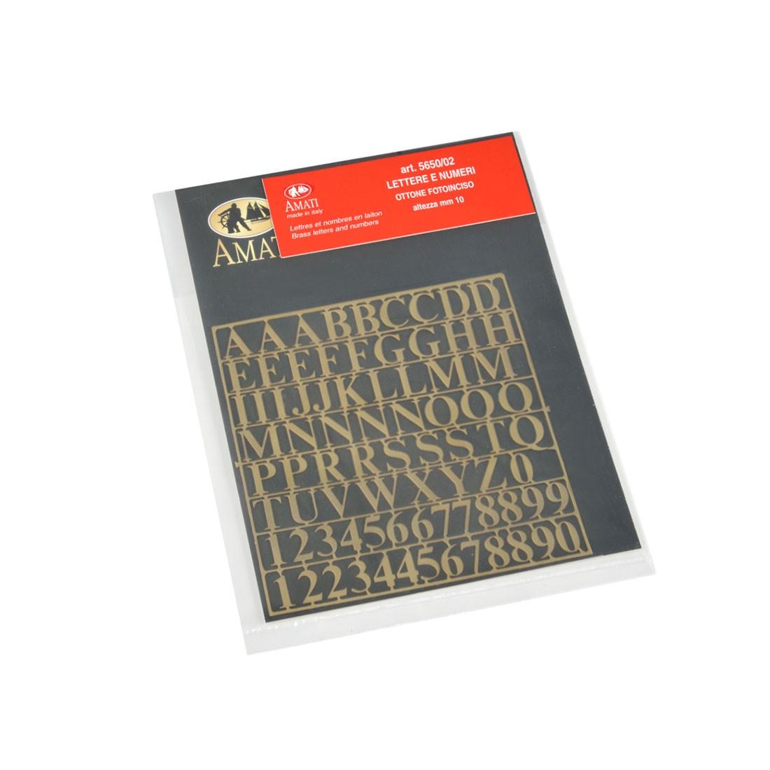 Latón letras y números altura mm.10